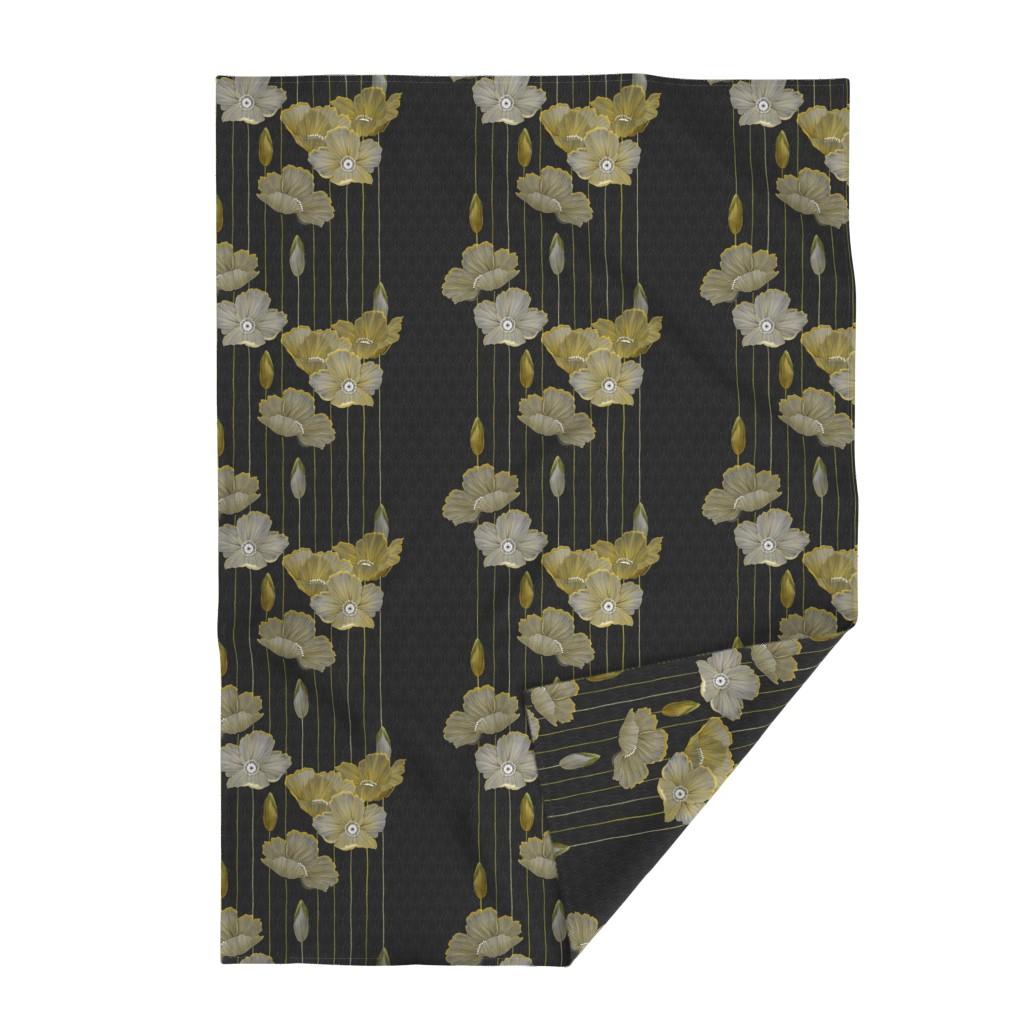 Lakenvelder Throw Blanket featuring Big Golden Poppies Version 2  by j9design