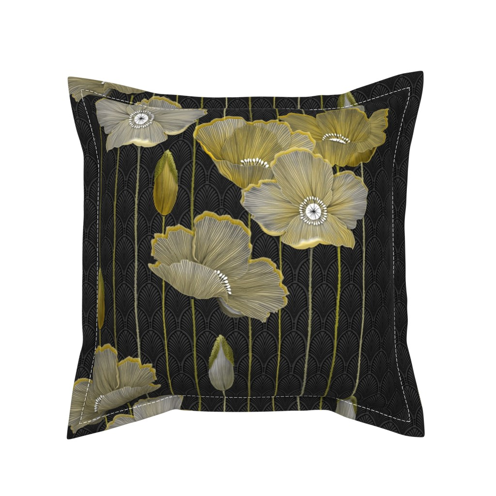 Serama Throw Pillow featuring Big Golden Poppies Version 2  by j9design