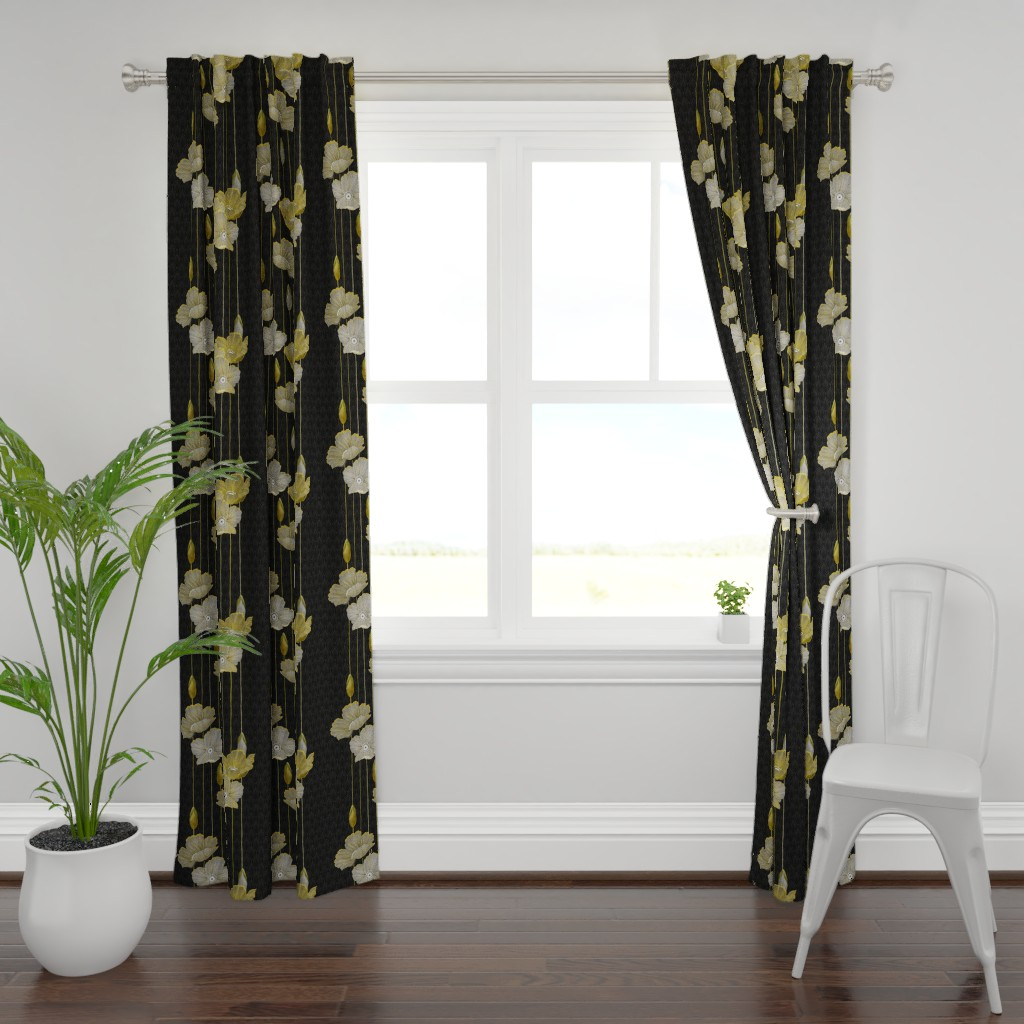 Plymouth Curtain Panel featuring Big Golden Poppies Version 2  by j9design
