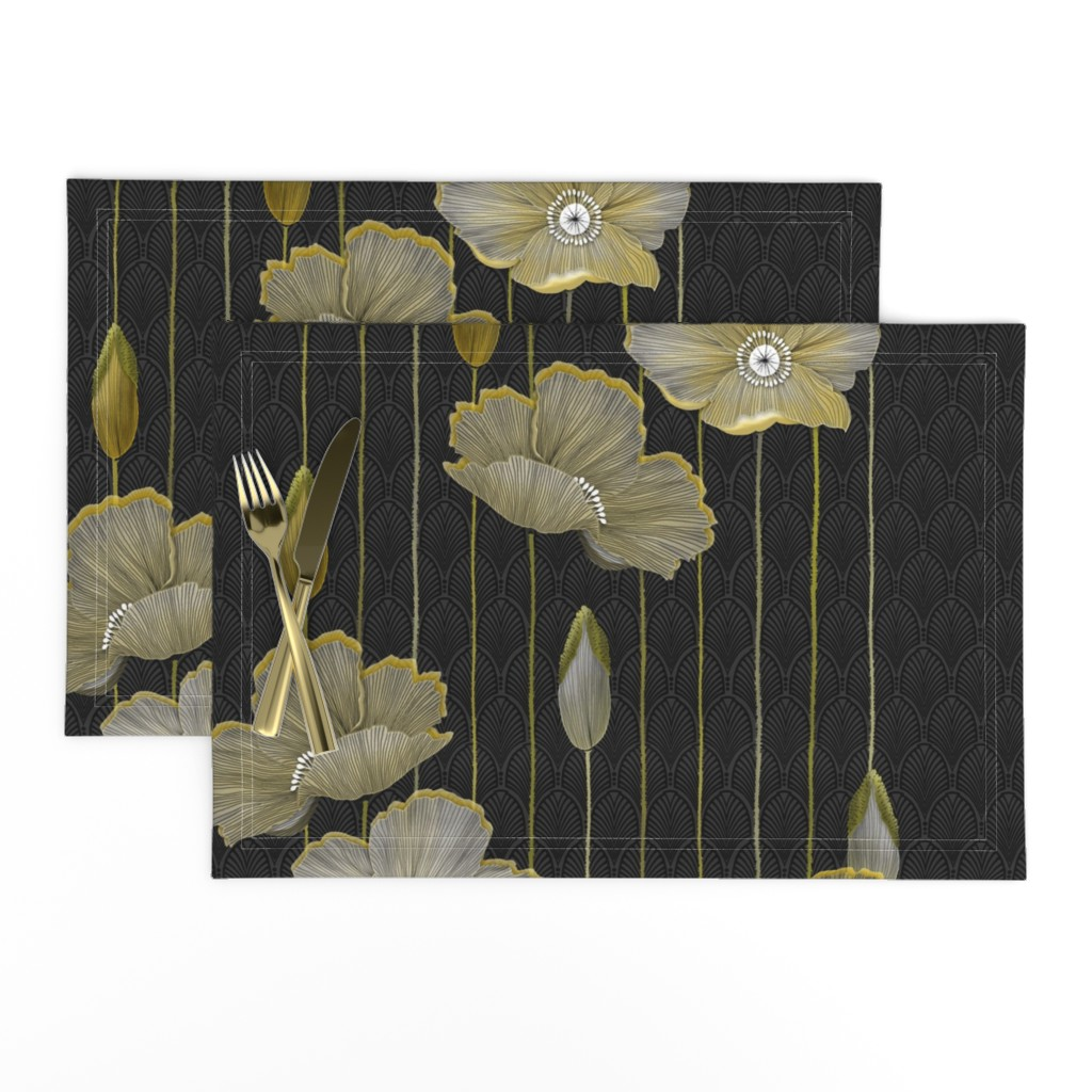 Lamona Cloth Placemats featuring Big Golden Poppies Version 2  by j9design