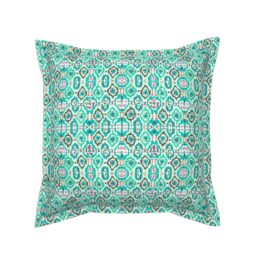 Serama Throw Pillow featuring Ikat Multicolor by jeanetta_gonzales