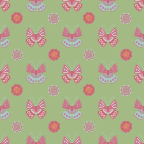 Vintage Garden Butterflies Green