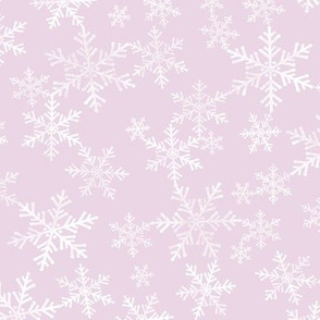 Pale Pink and White Hand Printed Snowflakes Pattern