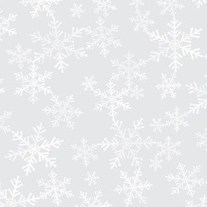 Lino Print Snowflakes | White Snowflakes on Soft Silver Gray