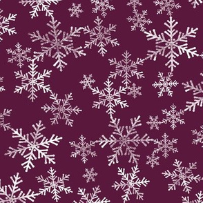 Lino Print Snowflakes | White Snowflakes on Winterberry