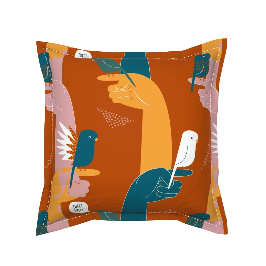 Serama Throw Pillow featuring Budgies on fingers limited palette by Mount Vic and Me by mountvicandme