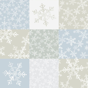 Christmas Wholecloth Cheater Quilt - Lino Print Snowflakes in Neutral