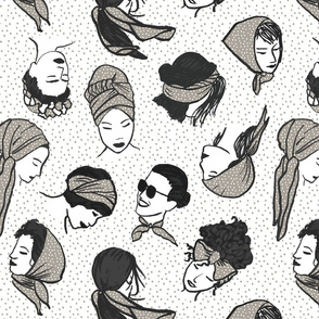 Women In Head Scarves GREY Big