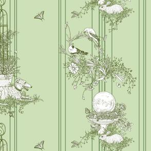 Green Stripe Garden Toile Large ©2011 by Jane Walker