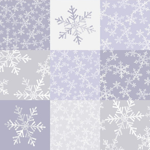Christmas Snowflakes Wholecloth Cheater Quilt in Gray and Purple