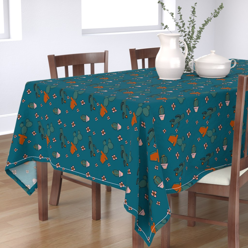 Bantam Rectangular Tablecloth featuring cactus print  by moxieprints