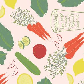 Green Juice Recipe Tea Towel