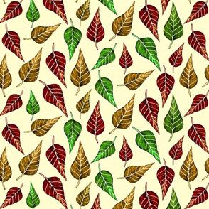 autumn leaves on cream