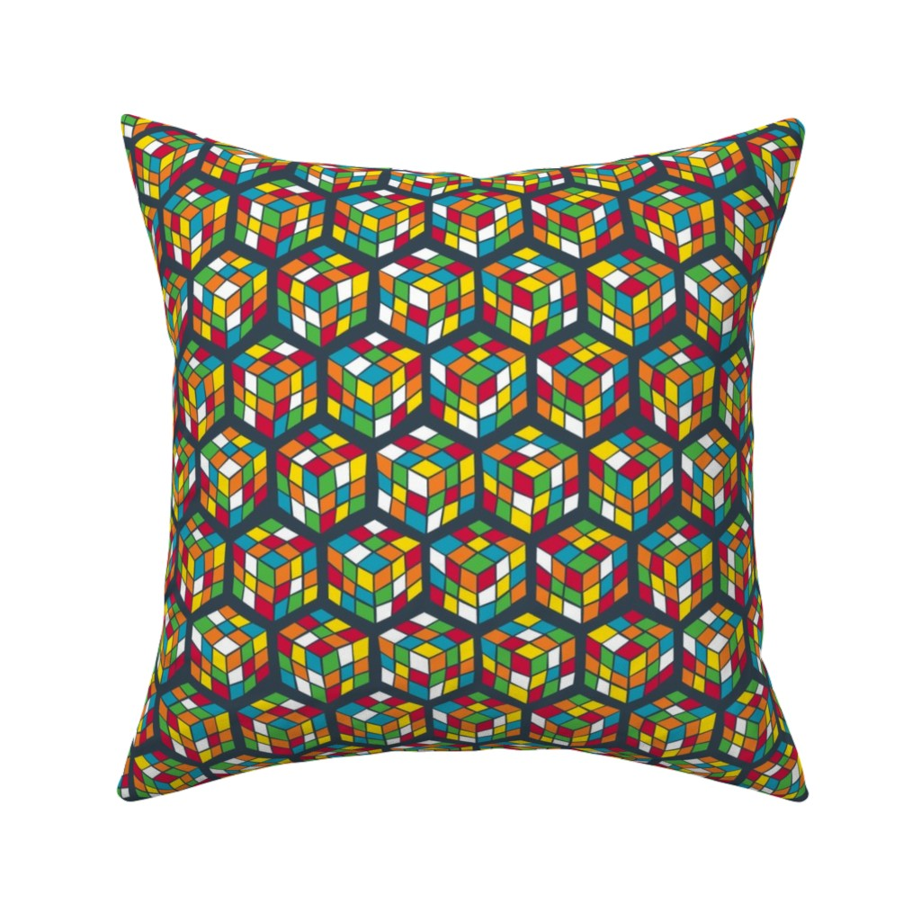 Catalan Throw Pillow featuring Geek Cubes Bright by penny_eversole