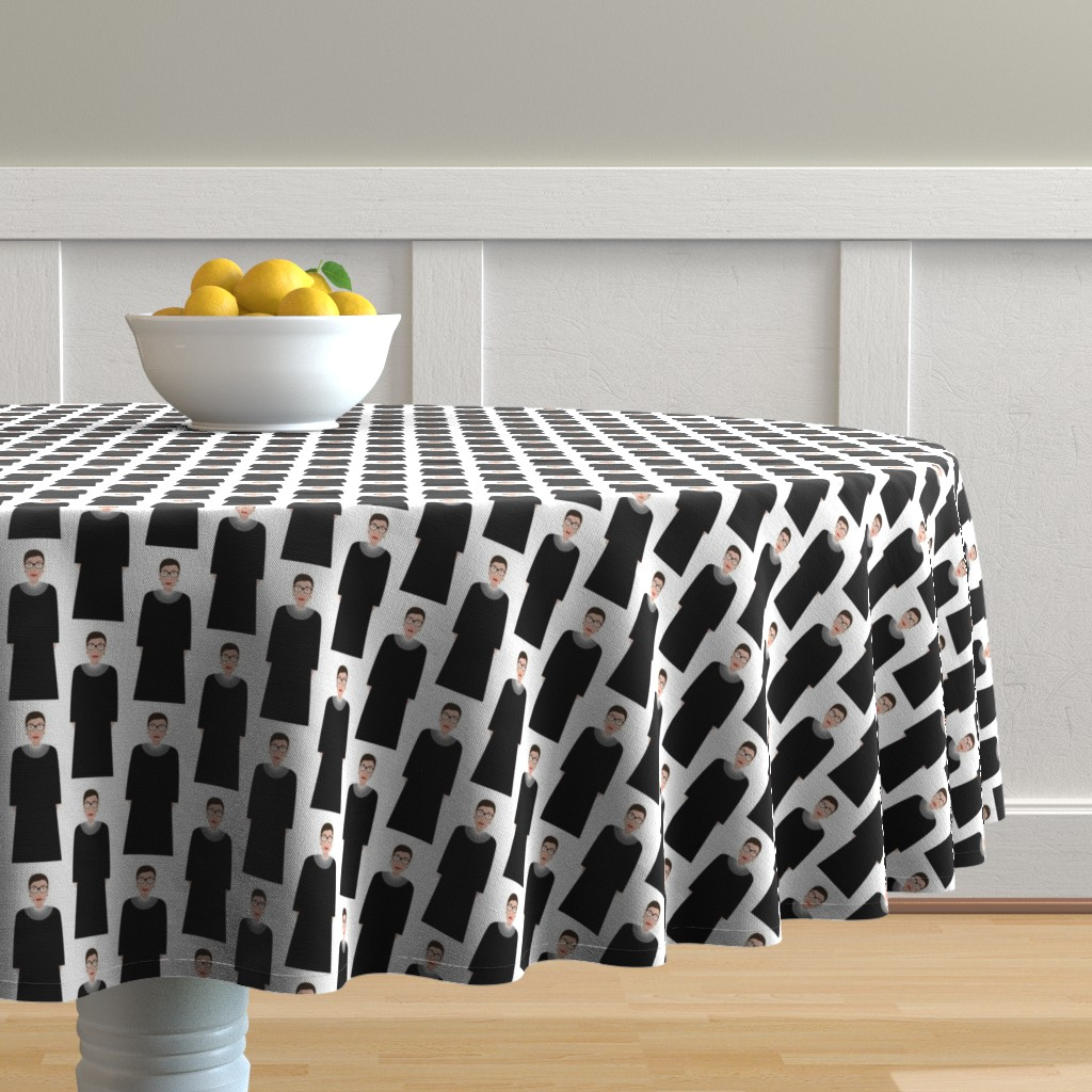 Malay Round Tablecloth featuring Ruth Bader Ginsgurg RBG - White by katerhees