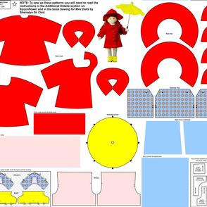 """Red 6.5"""" Mini Doll Rain Gear"""