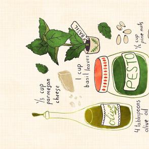 Pesto Recipe tea towel