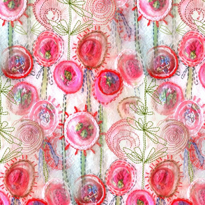 Wedding, Bridal Florals in Romantic candy Pink embroidery stitches Large scale