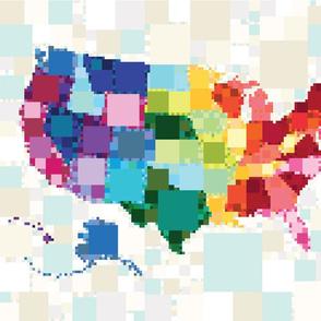 United Squares of America: Fat Quarter Panel