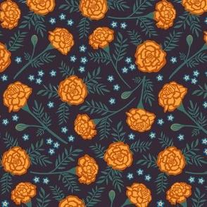 Marigolds & forget me nots - dark purple