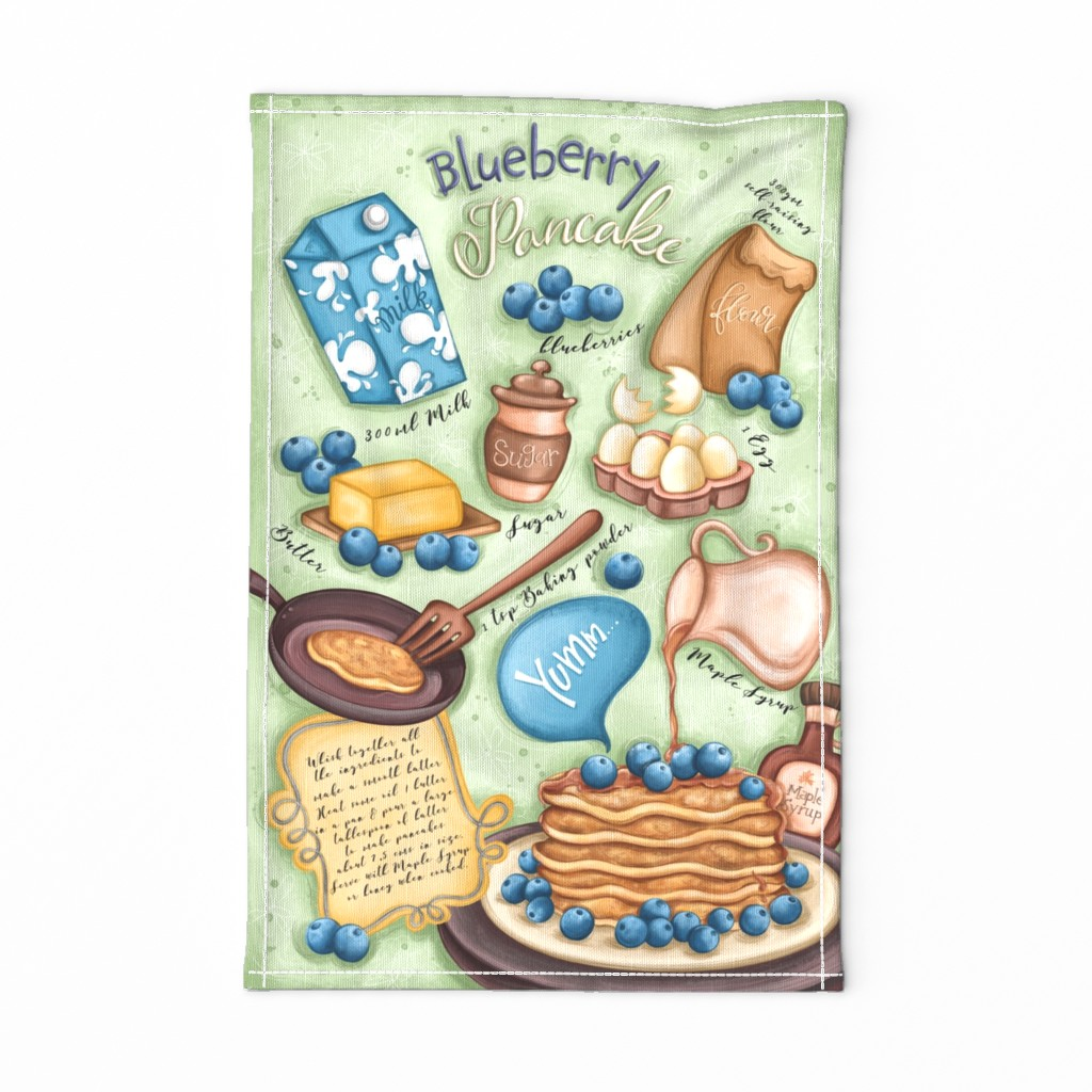Special Edition Spoonflower Tea Towel featuring Blueberry Pancake Recipe by aishwaryaillustrates
