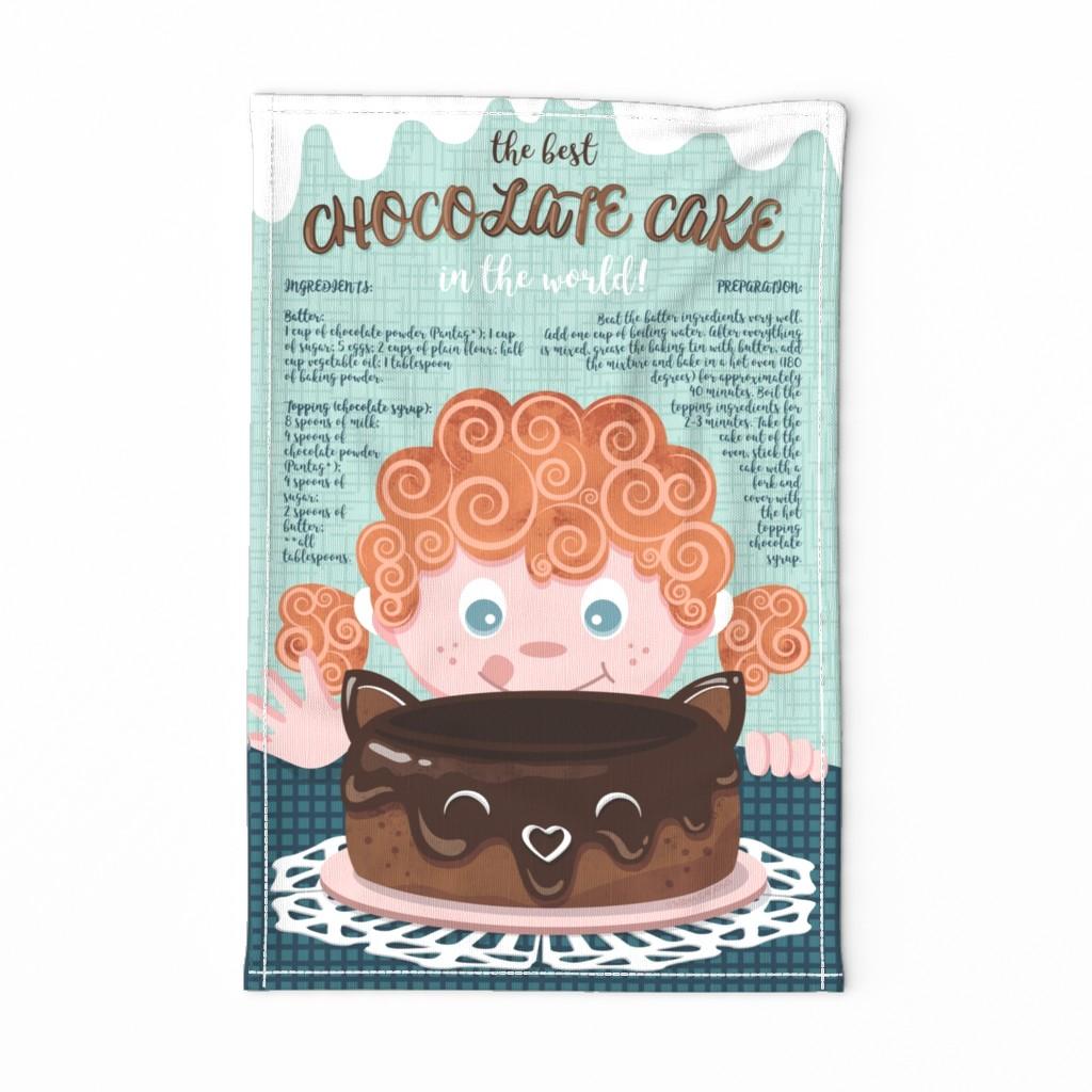 Special Edition Spoonflower Tea Towel featuring The best chocolate cake recipe tea towel // orange hair sweet little girl by selmacardoso