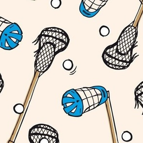 Lacrosse ball, stick and mask