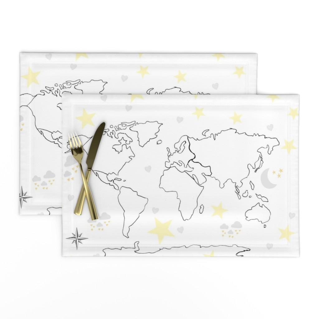 Lamona Cloth Placemats featuring map world black white 22 -moon stars gray yellow by drapestudio