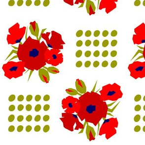 Bouquet of red poppies and dots