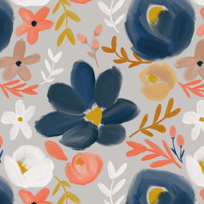 November's Florals - Autumn Navy - LARGE scale