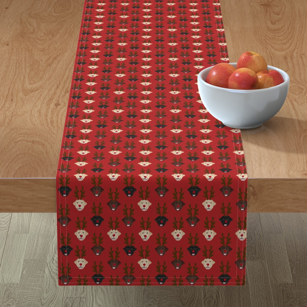 Minorca Table Runner featuring labrador dog fabric - labrador dogs, labrador christmas fabric, labrador fabric by the yard, lab dog fabric, lab fabric, cute dog reindeer fabric -red by petfriendly