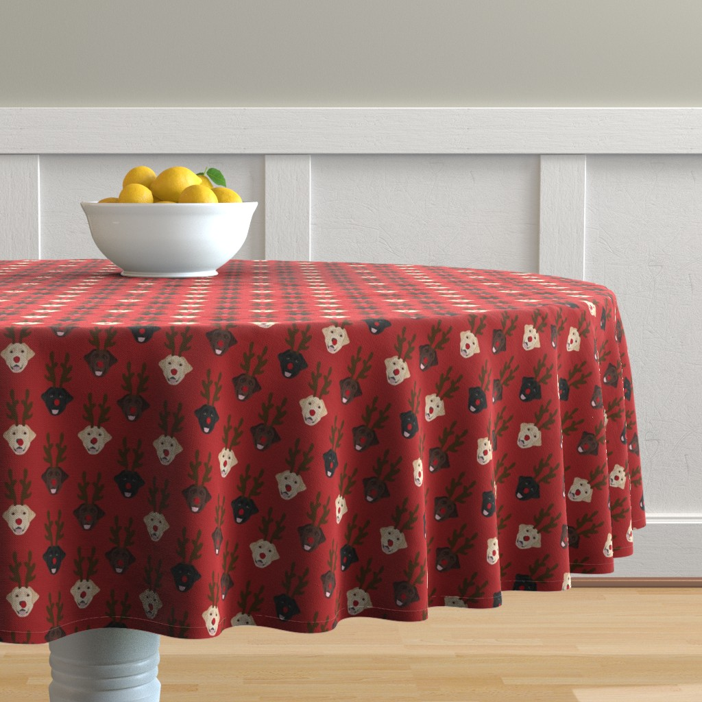 Malay Round Tablecloth featuring labrador dog fabric - labrador dogs, labrador christmas fabric, labrador fabric by the yard, lab dog fabric, lab fabric, cute dog reindeer fabric -red by petfriendly