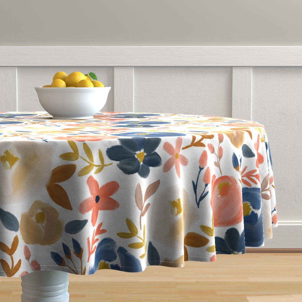 Malay Round Tablecloth featuring November's Florals - Fall Blooms - LARGE scale  by smallhoursshop