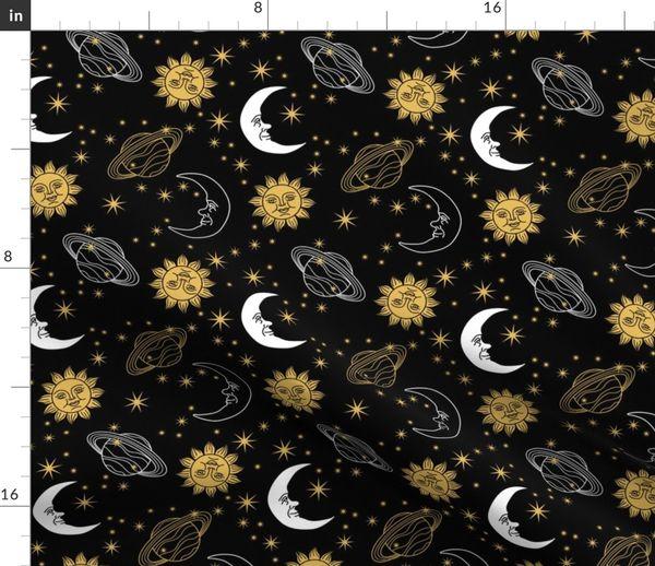 Sun, Moon, & Stars - Black - Spoonflower