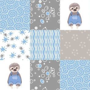 lil sloth in blue quilt