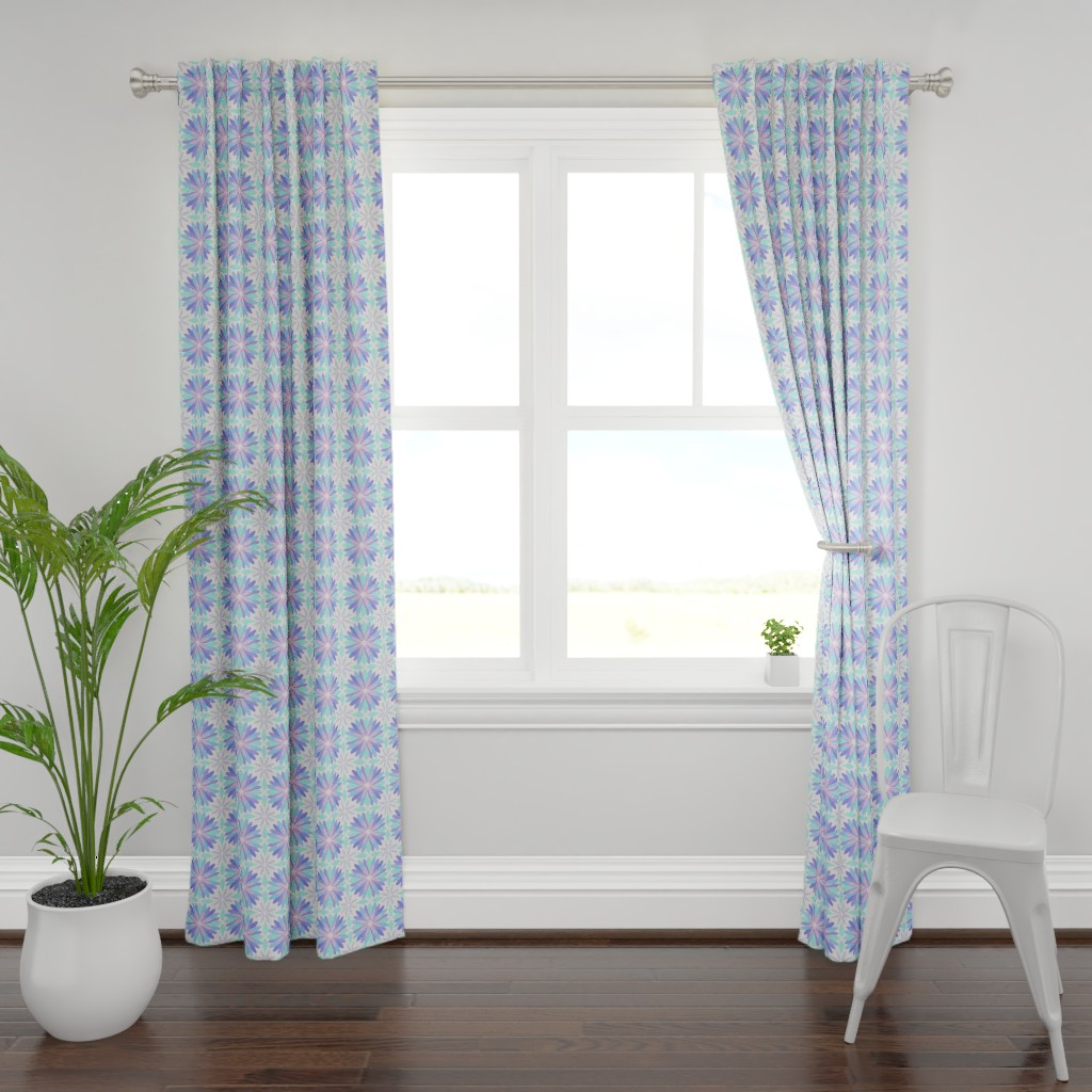 Plymouth Curtain Panel featuring Pastel Flower by cjohnson_art&design