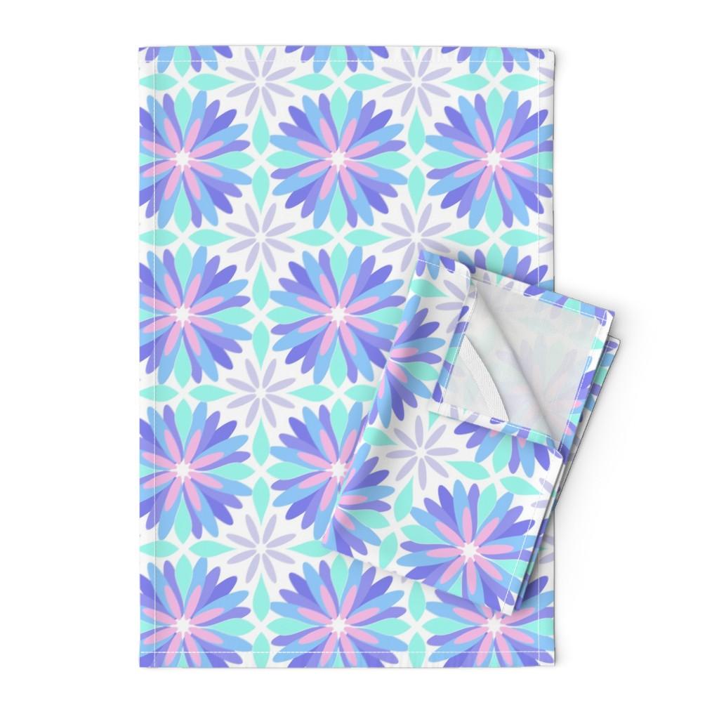 Orpington Tea Towels featuring Pastel Flower by cjohnson_art&design