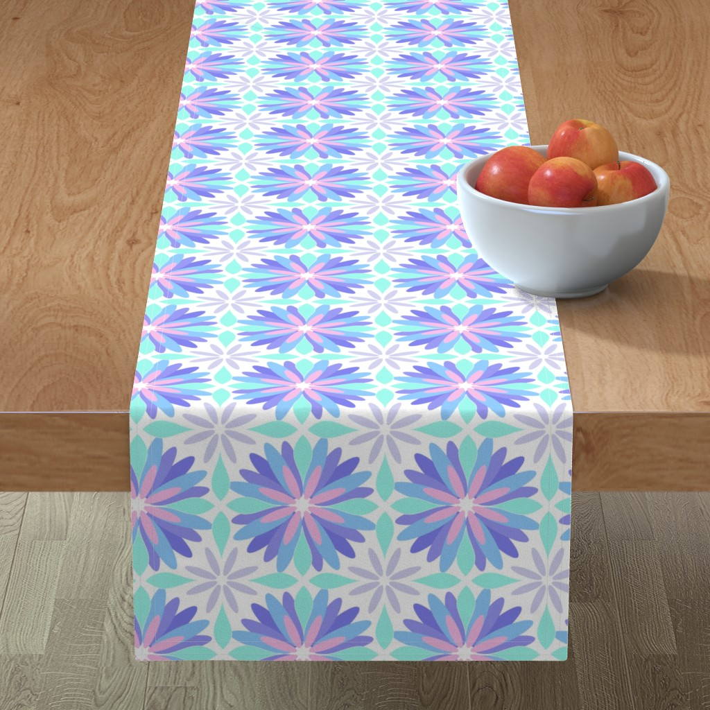 Minorca Table Runner featuring Pastel Flower by cjohnson_art&design