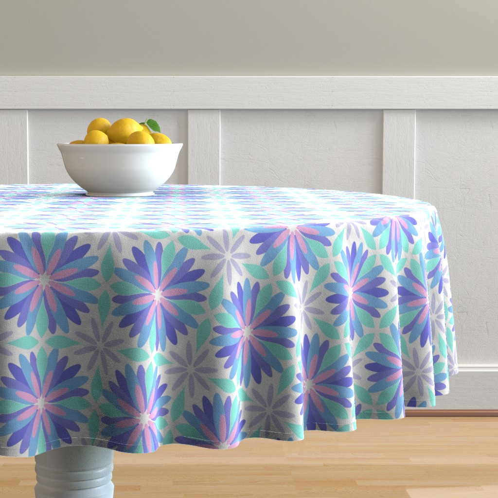 Malay Round Tablecloth featuring Pastel Flower by cjohnson_art&design