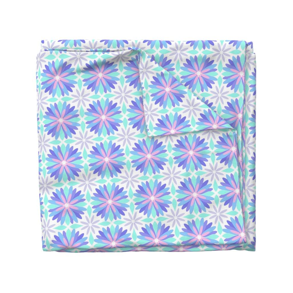 Wyandotte Duvet Cover featuring Pastel Flower by cjohnson_art&design