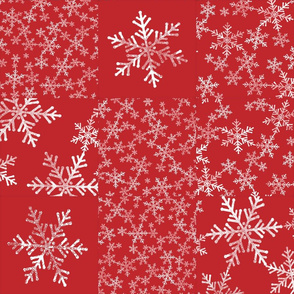 Christmas Red and White Snowflakes Cheater Quilt