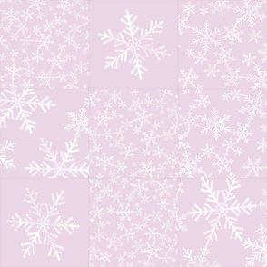 Pink and White Snowflakes / Christmas Cheater Quilt