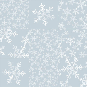 Dusty Blue and White Snowflakes / Christmas Wholecloth Cheater Quilt
