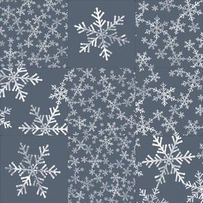 Dark Blue Gray and White Snowflakes / Christmas Wholecloth Cheater Quilt