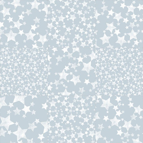 Dusty Blue + White Star Pattern Cheater Quilt