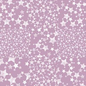Mauve + White Magical Stars Cheater Quilt