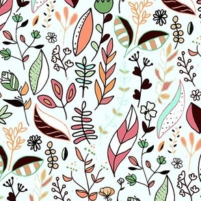 Bright Autumn Nature Doodle On Mint White