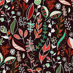 Autumn Nature Doodle On Dark Brown