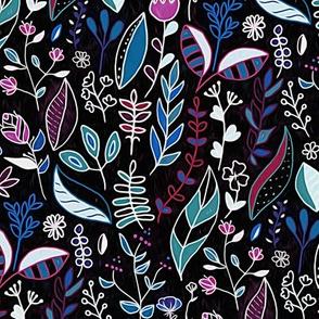 Vibrant Midnight Nature Doodle