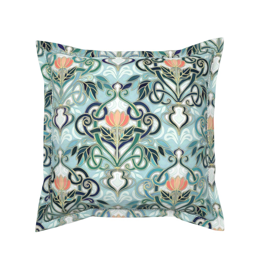 Serama Throw Pillow featuring Sage and Blue Art Nouveau Pattern with Peach Flowers large print  by micklyn